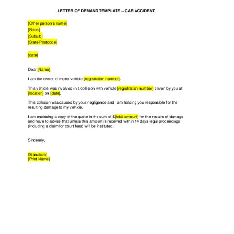 letter of demand car accidents arc unsw student life